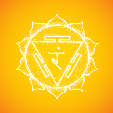 Vector third chakra Manipura sanskrit City of Jewels seed mantra Ram hinduism syllable lotus petals. Dot work tattoo style hand drawn white monochrome symbol yellow background for yoga meditation  Illustration