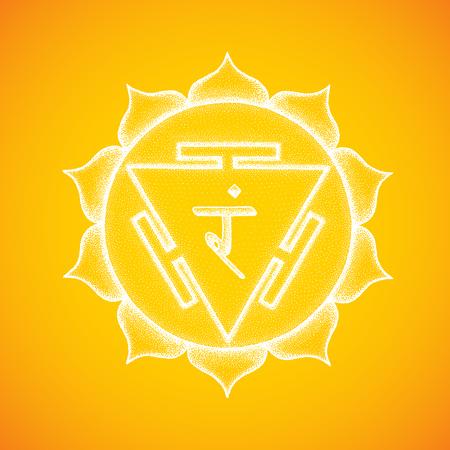 Vector third chakra Manipura sanskrit City of Jewels seed mantra Ram hinduism syllable lotus petals. Dot work tattoo style hand drawn white monochrome symbol yellow background for yoga meditation Ilustrace
