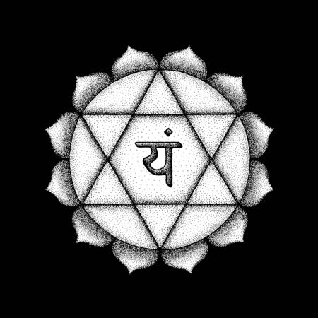 Vector fourth heart Anahata chakra sanskrit seed mantra Yam hinduism syllable lotus petals. Dot work tattoo style hand drawn white monochrome symbol black background for yoga meditation practices  Illustration