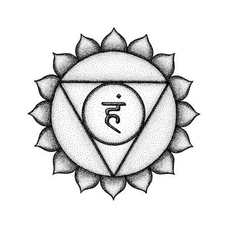 Vector fifth Vishuddha throat chakra sanskrit seed mantra Ham hinduism syllable lotus petals. Dot work tattoo style hand drawn black monochrome symbol on white background for yoga meditation practices