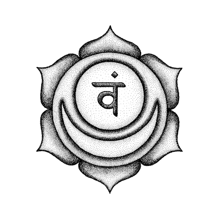 Vector second Svadhishthana sacral chakra sanskrit seed mantra Vam hinduism syllable lotus petals. Dot work tattoo style hand drawn black monochrome symbol on white background for yoga practices.