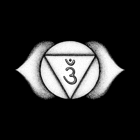 Vector third eye Ajna sixth chakra sanskrit seed mantra Om hinduism syllable lotus petals. Dot work tattoo style hand drawn white monochrome symbol black background for yoga meditation practices  Illustration