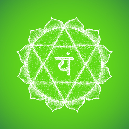 Vector fourth heart Anahata chakra sanskrit seed mantra Yam hinduism syllable lotus petals. Dot work tattoo style hand drawn white monochrome symbol green background for yoga meditation practices