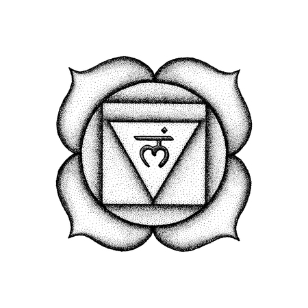 Vector first root chakra Muladhara sanskrit seed mantra Lam hinduism syllable lotus petals. Dot work tattoo style hand drawn black monochrome symbol white isolated background for yoga meditation