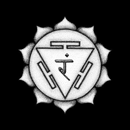 Vector third chakra Manipura sanskrit City of Jewels seed mantra Ram hinduism syllable lotus petals. Dot work tattoo style hand drawn white monochrome symbol black background for yoga meditation