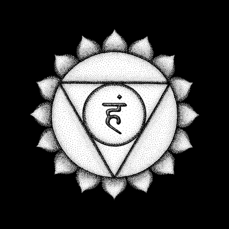 Vector fifth Vishuddha throat chakra sanskrit seed mantra Ham hinduism syllable lotus petals. Dot work tattoo style hand drawn white monochrome symbol on black background for yoga meditation practices