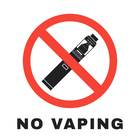 vector colorful flat simple design no vaping prohibition red circle sign with crossed vape illustration isolated white background