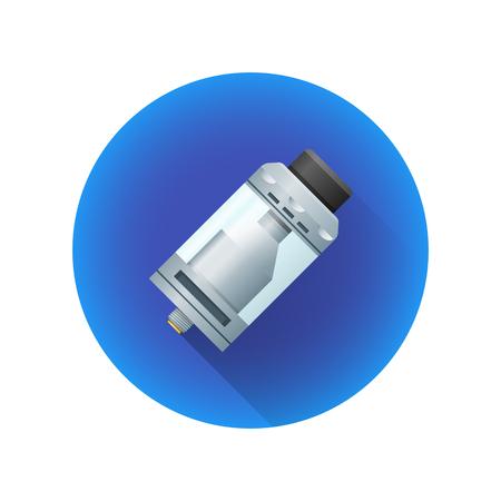 Vektor vape wiederbefüllbarer Behälterzerstäuber RTA-Art elektronische Zigarettenflüssigkeits-Zerstäuber-bunte realistische flache lange Schattenillustration Dekoration blaue Kreisikone lokalisierte weißen Hintergrund Standard-Bild - 91633472