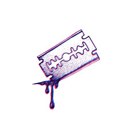 Vector vermelho azul anaglif preto trabalho tatuagem ponto arte mão desenhada gravura estilo corte lâmina navalha com sangue cai ilustração isolado fundo branco Foto de archivo - 91633474