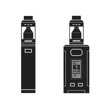 vector black monochrome solid illustrations various types vaporizer mechanical and box mods illustrations isolated on white background
