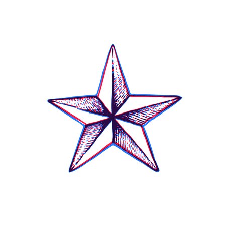 vector red blue anaglif black work tattoo dot art hand drawn engraving style star shape illustration isolated white background