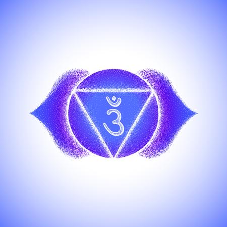Vector third eye Ajna sixth chakra sanskrit seed mantra Hinduism syllable lotus petals. Dot work tattoo style hand drawn white monochrome symbol blue background for yoga meditation practices Illustration