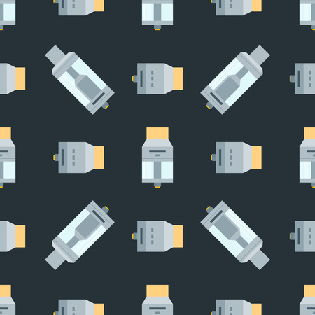 vector colorful flat design various drip and tank vape atomizers types RDA RDTA RBA RTA illustrations icons seamless pattern isolated on dark background
