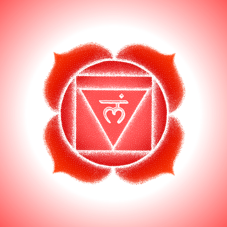 First root chakra Muladhara sanskrit seed mantra Lam Hinduism syllable lotus petals. Dot work tattoo style hand drawn white monochrome symbol red isolated background for yoga meditation.