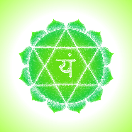 Fourth heart Anahata chakra sanskrit seed mantra Yam Hinduism syllable lotus petals. Dot work tattoo style hand drawn white monochrome symbol green background for yoga meditation practices.