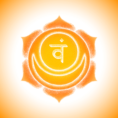 Second Svadhishthana sacral chakra sanskrit seed mantra Vam Hinduism syllable lotus petals. Dot work tattoo style hand drawn white monochrome symbol on orange background for yoga practices. Illustration