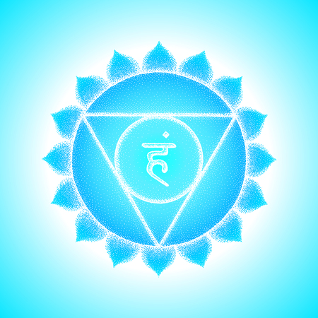 Fifth Vishuddha throat chakra sanskrit seed mantra Ham Hinduism syllable lotus petals. Dot work tattoo style hand drawn white monochrome symbol on light blue background for yoga meditation.