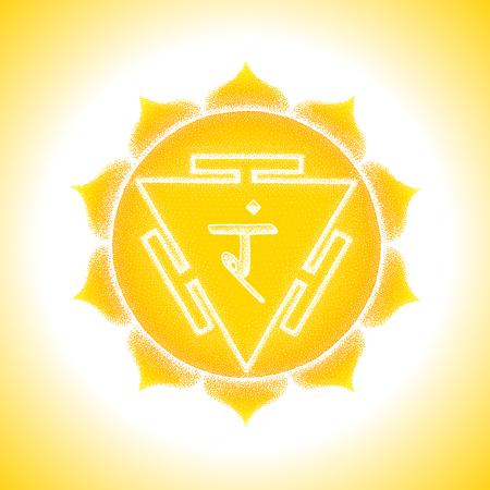 Third chakra Manipura sanskrit City of Jewels seed mantra Ram Hinduism syllable lotus petals. Dot work tattoo style hand drawn white monochrome symbol yellow background for yoga meditation. Illustration