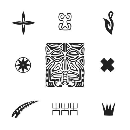 vector black monochrome ink hand drawn native polynesian folk art symbols Tiki, tapa flower, Enata, fish hook, Puahitu, compass, moray eel, Kena warrior, coconut illustrations isolated white background   Stock Illustratie