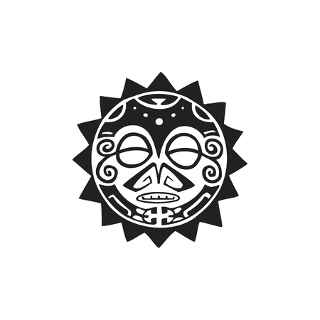 vector black monochrome ink hand drawn native polynesian folk art sun symbol mythological circle Tiki face illustration isolated white background