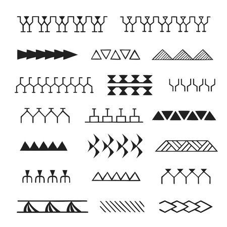 vector black monochrome ink hand drawn native polynesian folk art symbols stroke patterns enata, plant leaves, shark teeth, tuna, aniata, turtle shell, warrior, birds, spear illustrations isolated white background