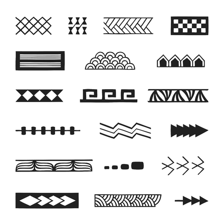 vector black monochrome ink hand drawn native polynesian folk art symbols stroke patterns birds net, tuna, cord, nuqa, vetau, fish scale, turtle shell, sea waves, plant leaves, path, birds, spear illustrations isolated white background  