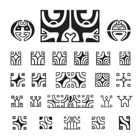vector black monochrome ink hand drawn native polynesian folk art symbols Mata Hoata brilliant eye, Kautupa, Hope Vehine, Teffio, Vai O Kena variations illustrations isolated white background