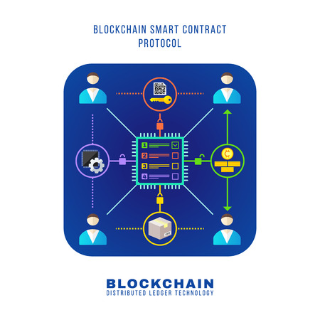 vector colorful flat design blockchain smart contract protocol rinciple explain scheme illustration blue rounded square icon isolated white background