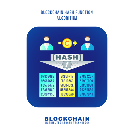 vector colorful flat design blockchain hash function algorithm principle explain scheme illustration blue rounded square icon isolated white background