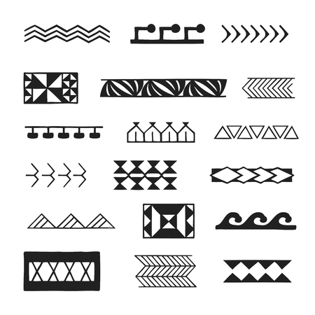 vector black monochrome ink hand drawn native polynesian folk art symbols stroke patterns sea waves, pigeons, kamiki, plant leaves, shark teeth, tuna, spear, kofati illustrations isolated white background