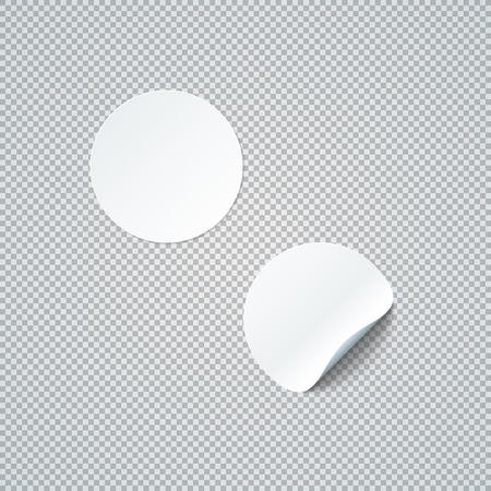 vector white mock up paper circle round warped peel off corner sticker illustration realistic with shadow template design isolated on transparent background  Иллюстрация