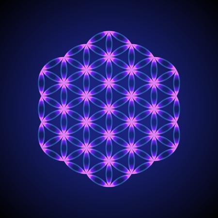 vector violet blue ornament design abstract mandala sacred geometry illustration Flower of life isolated on dark background