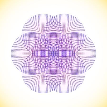 vector blue violet strokes ornament design abstract mandala sacred geometry illustration seed of life  isolated on light background Иллюстрация