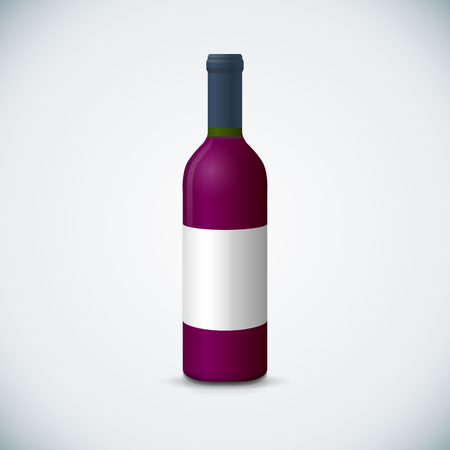vector mock up red vinous glass blank wine close bootle with cap white label illustration realistic with shadow template design isolated on dark background