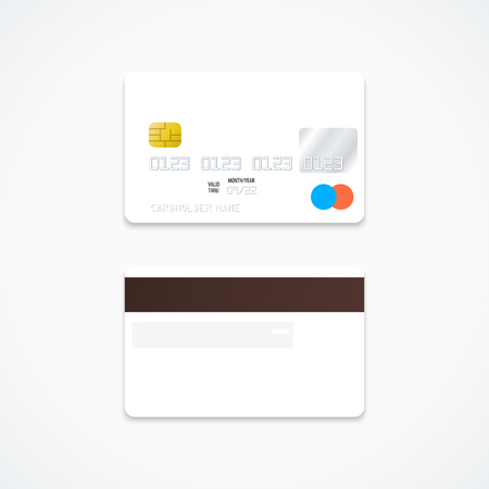 vector mock up white blank plastic bank card face and back sides illustration realistic with shadow template design isolated on light background