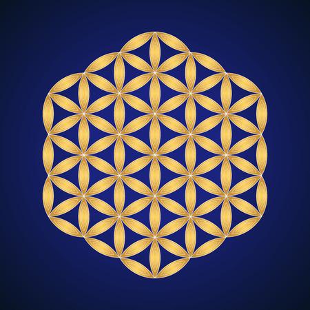 vector gold ornament design abstract mandala sacred geometry illustration Flower of life isolated on dark background Иллюстрация