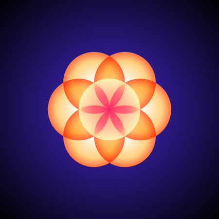 vector orange ornament design abstract mandala sacred geometry illustration seed of life isolated on dark background Иллюстрация