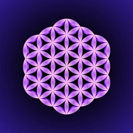 vector violet volumetric ornament design abstract mandala sacred geometry illustration Flower of life isolated on dark background Иллюстрация