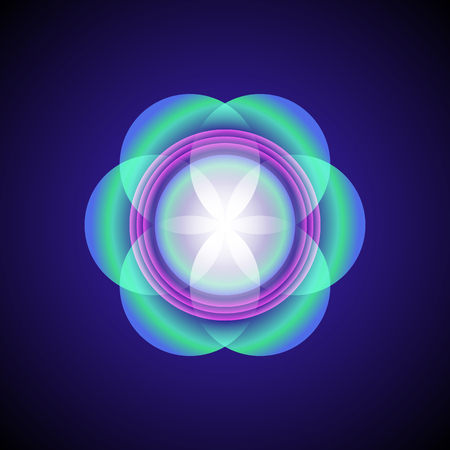 vector airy green violet transparent ornament design abstract mandala sacred geometry illustration seed of life isolated on dark background