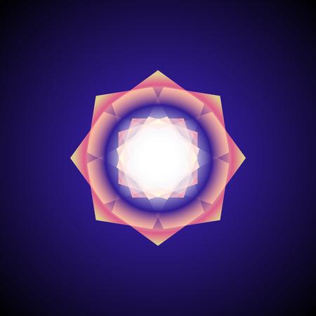 vector airy orange transparent ornament design abstract decoration mandala sacred geometry illustration isolated on dark background Иллюстрация