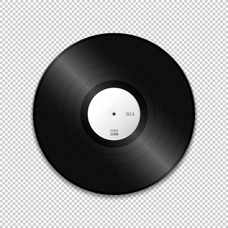 vector white paper label LP vinyl record blank mock up realistic illustration with shadow template design isolated on transparent background Illustration