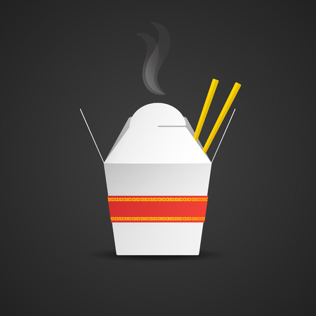 vector white hot asian noodles take away mock up paper blank box red ribbon gold chines ornament with food sticks realistic illustration with shadow template design isolated on dark background
