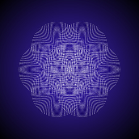 vector light strokes ornament design abstract mandala sacred geometry illustration seed of life isolated on dark background