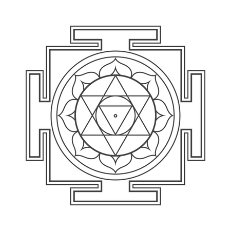 vector design black monochrome Sri Ram aspect Yantra sacred geometry divine mandala illustration bhupura lotus petals isolated white background