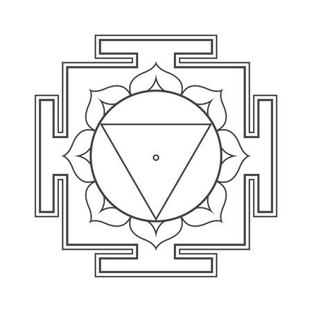 vector design black monochrome Tara aspect Yantra Dasa Mahavidya sacred geometry divine mandala illustration bhupura lotus petals isolated white background  イラスト・ベクター素材