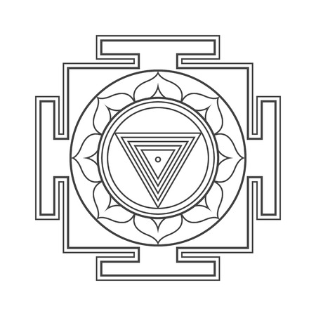 vector design black monochrome Maha Kali aspect Yantra Dasa Mahavidya sacred geometry divine mandala illustration bhupura lotus petals isolated white background