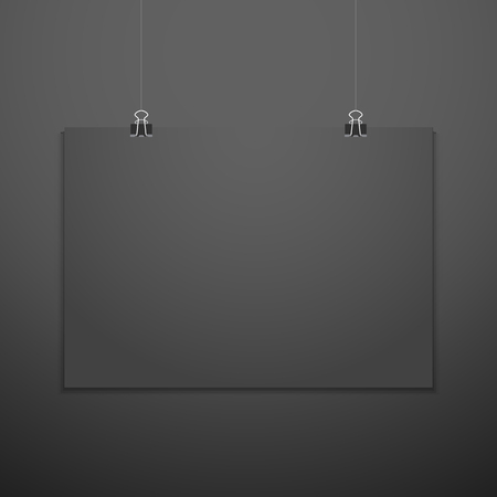 vector horizontal black empty poster suspended on office clamps mock up realistic shadow blank template isolated black background