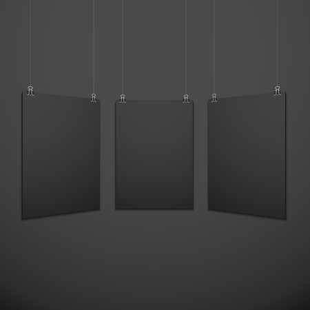 vector vertical black empty poster set suspended on office clamps mock up realistic shadow blank template isolated black background Ilustrace