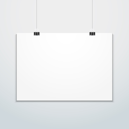 vector horizontal white empty poster suspended on office clamps mock up realistic shadow blank template isolated light background Imagens - 122840653