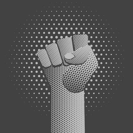 vector grayscale symbolic raised clenched power fist male hand protest concept sign vintage illustration retro poster design isolated on dotted background